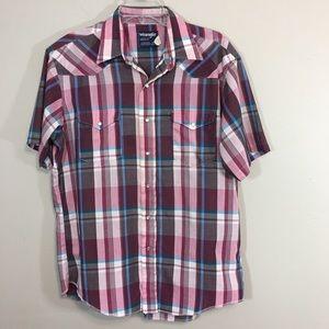 Vtg Wrangler Western Shirt Pearl Snaps 16.5 Cowboy